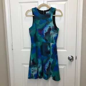 CeCe Watercolor Fit and Flare Dress